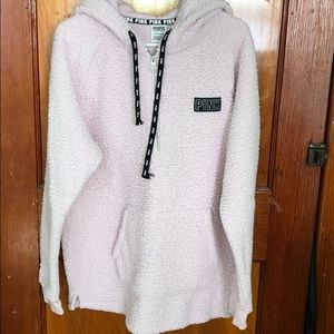 PINK Sherpa quarter zip with hood